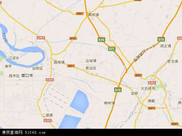 中国辽宁省营口市老边区地图(卫星地图)
