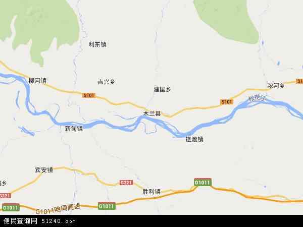 中国黑龙江省哈尔滨市木兰县地图(卫星地图)