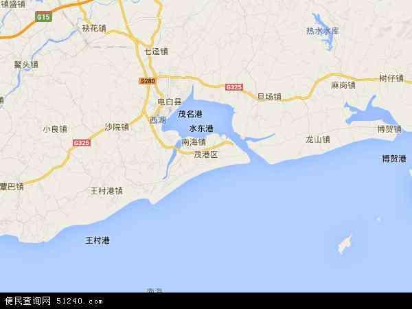 中国广东省茂名市茂港区地图(卫星地图)