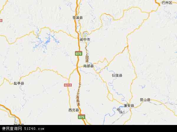 中国四川省南充市南部县地图(卫星地图)