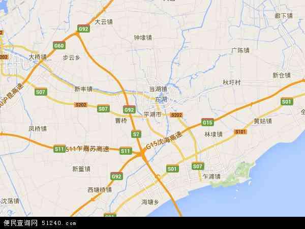中国浙江省嘉兴市平湖市地图(卫星地图)