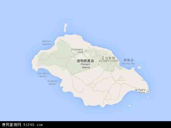 皮特凯恩地图 - 皮特凯恩电子地图 - 皮特凯恩高清地图 - 2016年皮特凯恩地图