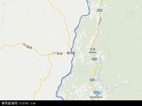中国黑龙江省双鸭山市饶河县地图(卫星地图)图片