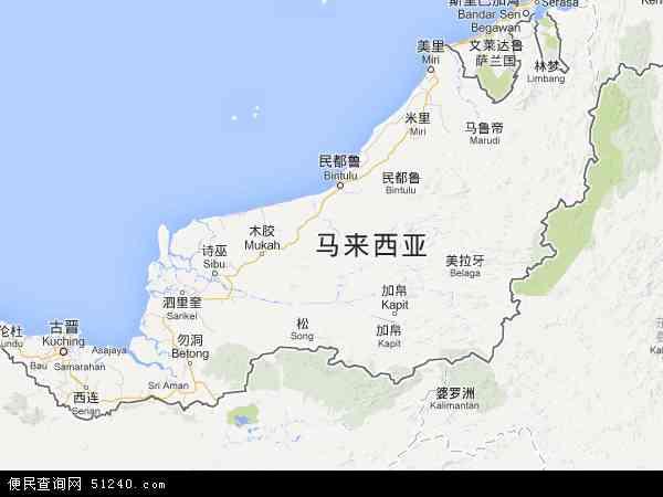 马来西亚沙捞越地图(卫星地图)
