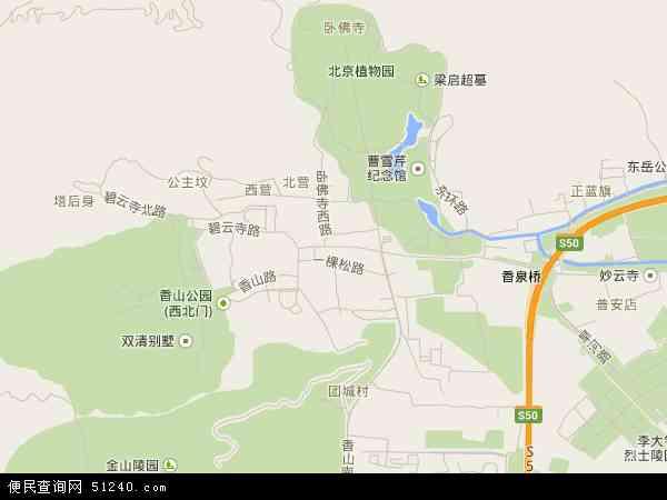 中国北京市海淀区香山地图(卫星地图)
