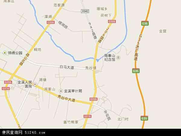 中国江西省抚州市金溪县秀谷镇地图(卫星地图)