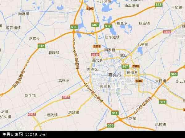 中国浙江省嘉兴市秀洲区地图(卫星地图)