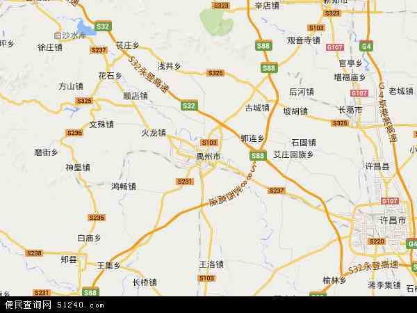 中国河南省许昌市禹州市地图(卫星地图)