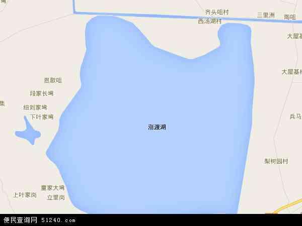 中国湖北省武汉市新洲区涨渡湖地图(卫星地图)