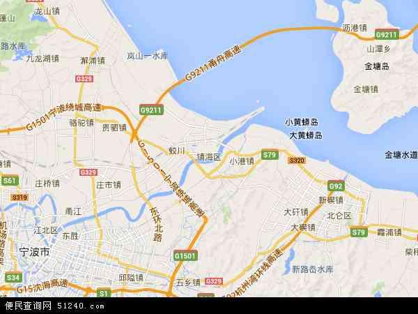镇海区地图 - 镇海区卫星地图