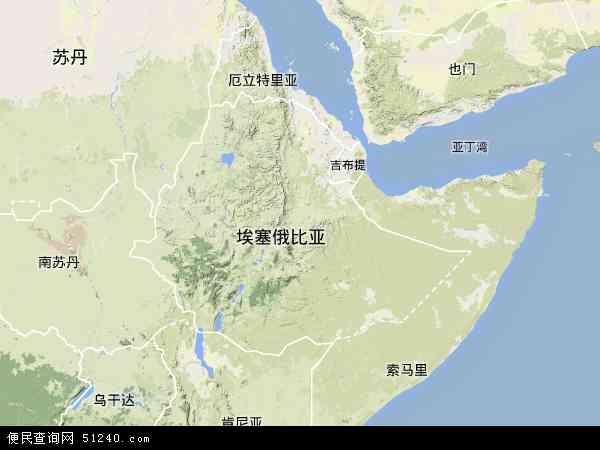 埃塞俄比亚地形图 - 埃塞俄比亚地形图高清版 - 2016年埃塞俄比亚地形图