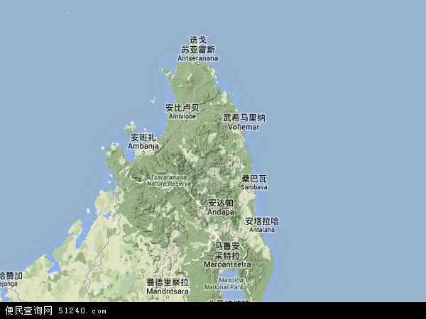 马达加斯加安齐拉纳纳地图(卫星地图)