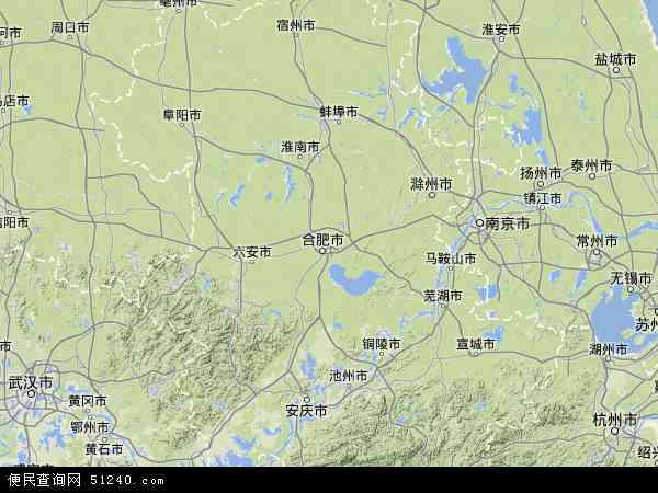 中国安徽省地图(卫星地图)
