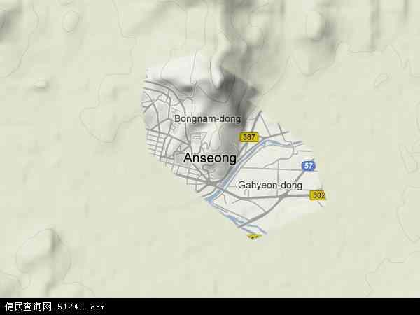 韩国京畿道安城市地图(卫星地图)