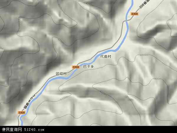 中国青海省玉树藏族自治州曲麻莱县巴干乡地图(卫星地图)