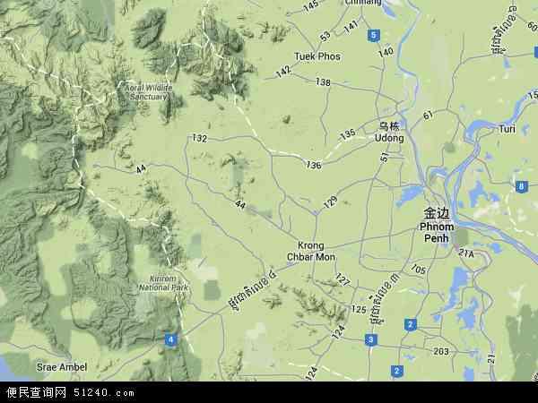 柬埔寨磅士卑地图(卫星地图)