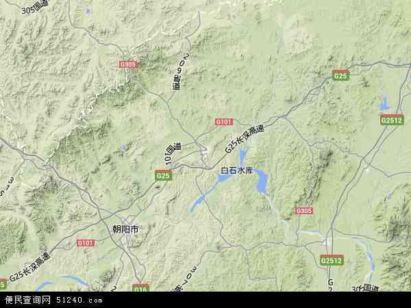 中国辽宁省朝阳市北票市地图(卫星地图)