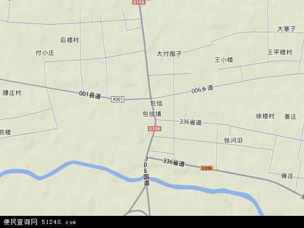 中国河南省信阳市息县包信镇地图(卫星地图)