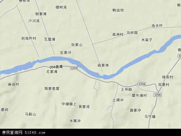 中国湖南省长沙市望城区白沙洲地图(卫星地图)