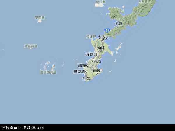冲绳地图 - 冲绳卫星地图