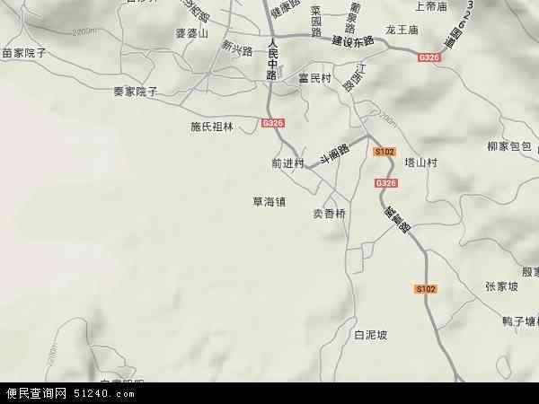草海镇2018年卫星地图 中国贵州省毕节市威宁彝族回族苗族自治县草