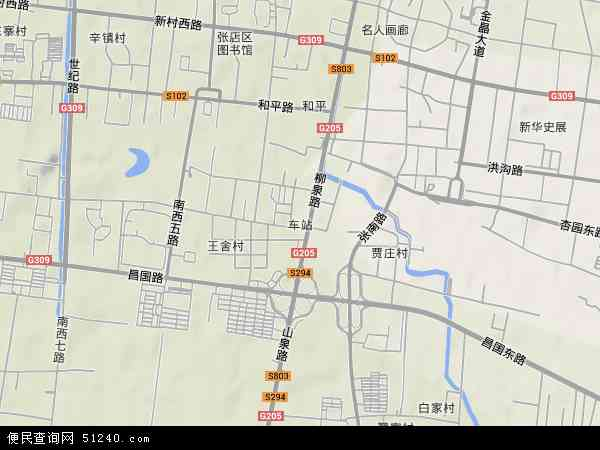 中国山东省淄博市张店区车站地图(卫星地图)