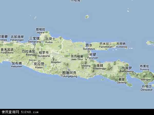 印度尼西亚东爪哇地图(卫星地图)