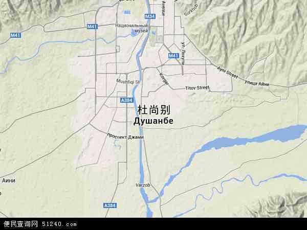 塔吉克斯坦杜尚别地图(卫星地图)