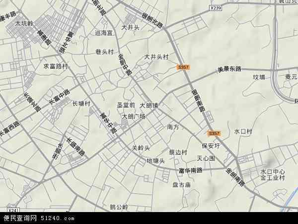 中国广东省东莞市大朗镇地图(卫星地图)