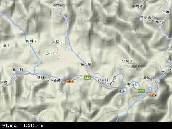 中国浙江省杭州市临安市岛石镇地图(卫星地图)