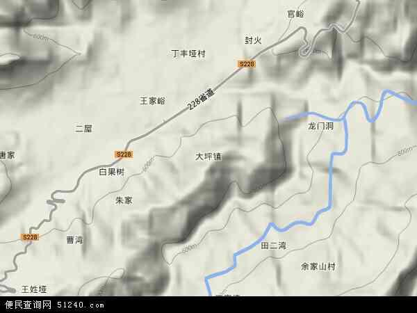 中国湖南省张家界市永定区大坪镇地图(卫星地图)