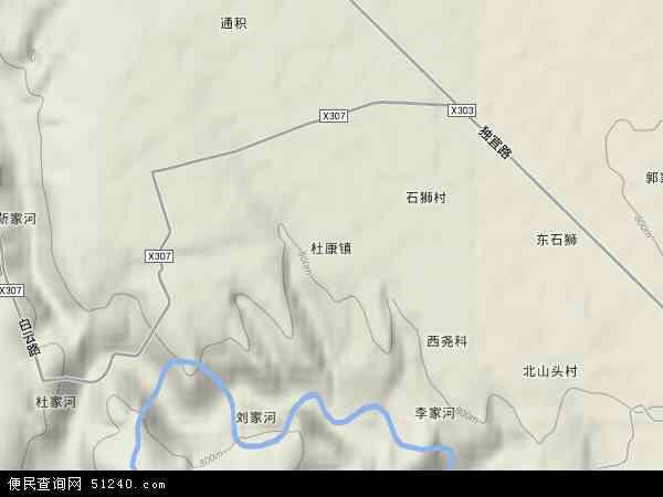中国陕西省渭南市白水县杜康镇地图(卫星地图)