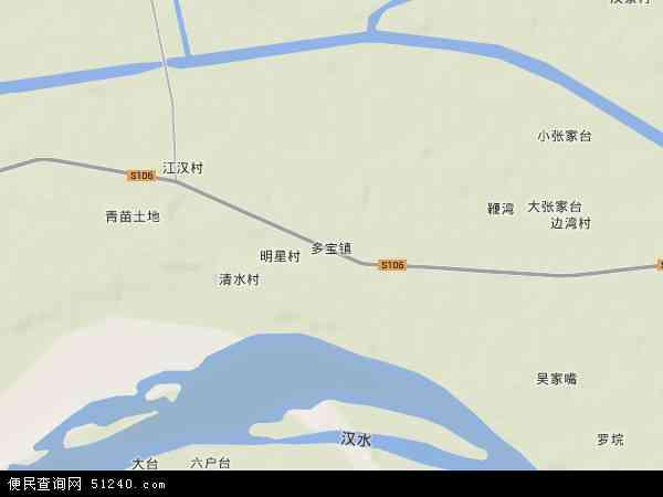 中国湖北省省直辖县级行政区划天门市多宝镇地图(卫星地图)