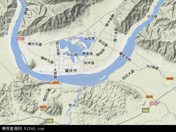 中国广东省肇庆市端州区地图(卫星地图)
