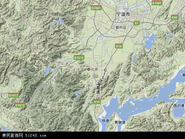 奉化市地图 - 奉化市卫星地图