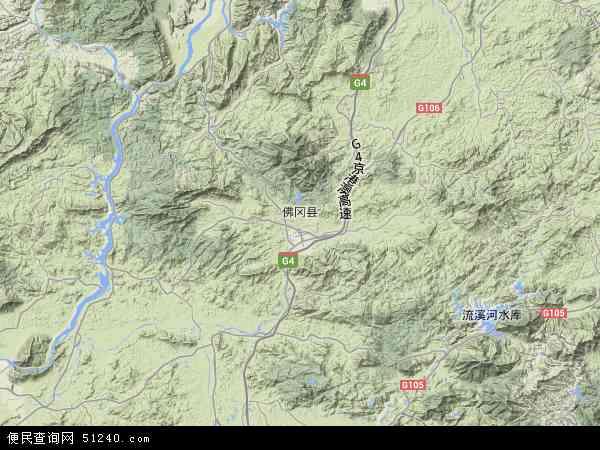 中国广东省清远市佛冈县地图(卫星地图)