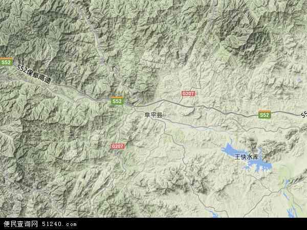 中国河北省保定市阜平县地图(卫星地图)