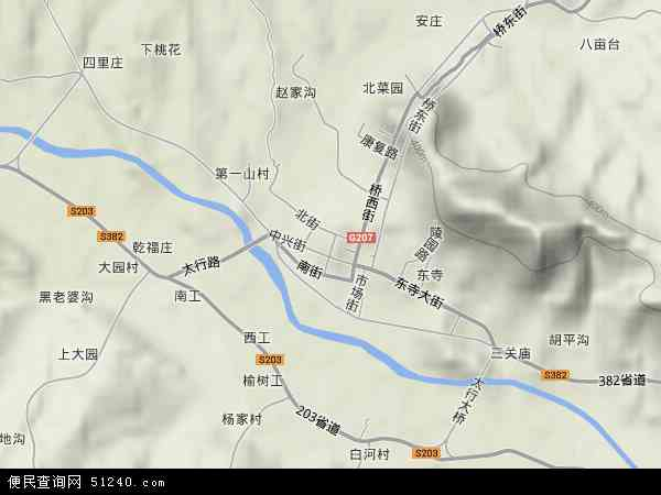 中国河北省保定市阜平县阜平镇地图(卫星地图)