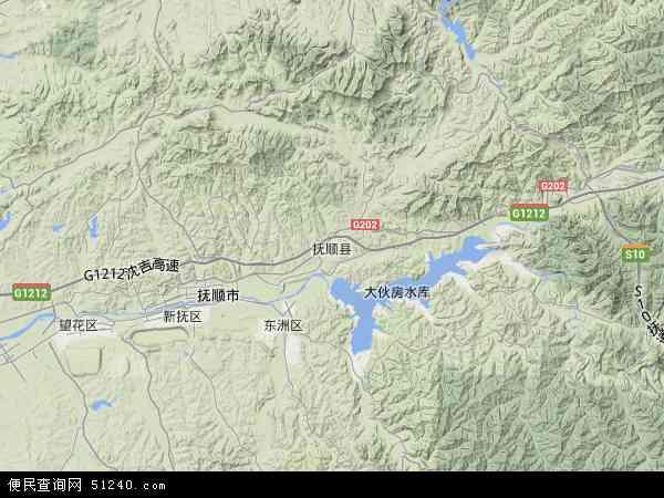抚顺县地图 - 抚顺县卫星地图图片
