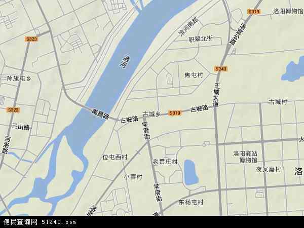 中国河南省洛阳市洛龙区古城地图(卫星地图)图片