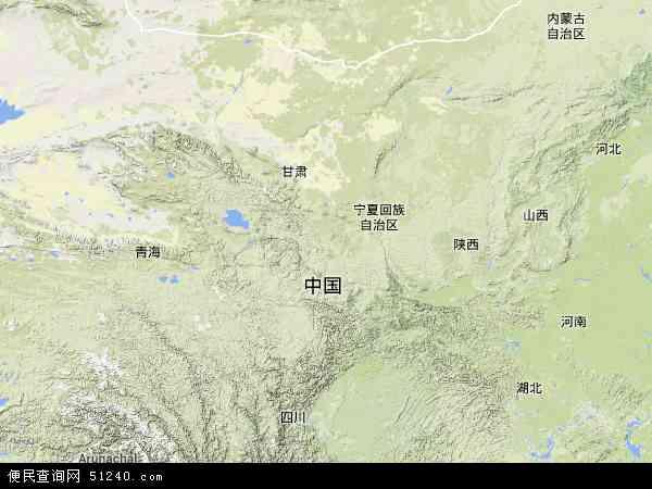 中国甘肃省地图(卫星地图)