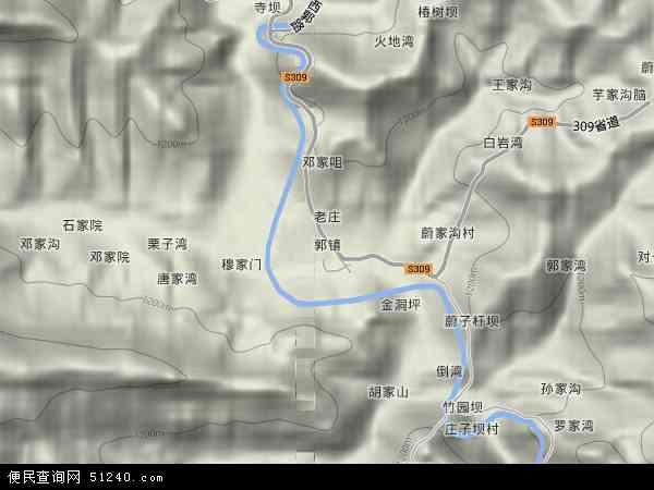中国陕西省汉中市略阳县郭镇地图(卫星地图)
