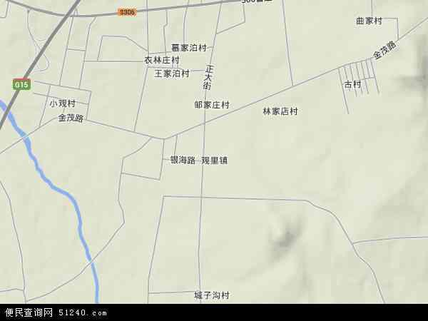 中国山东省烟台市栖霞市观里镇地图(卫星地图)
