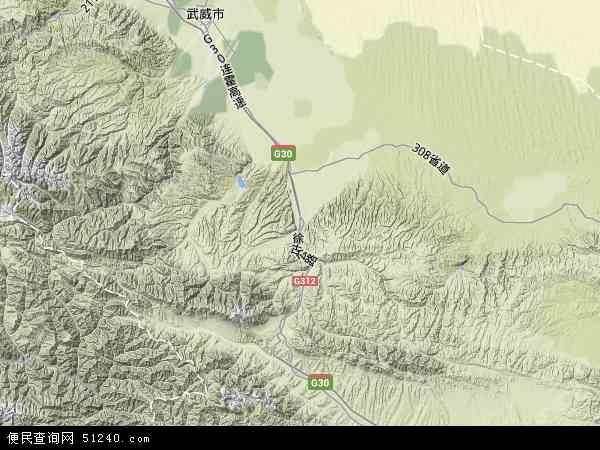 中国甘肃省武威市古浪县地图(卫星地图)