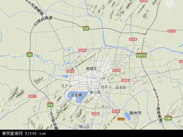 中国江苏省徐州市鼓楼区地图(卫星地图)