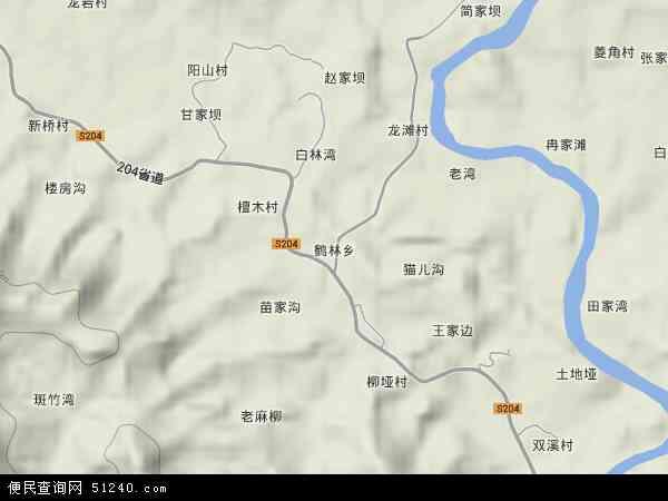 鹤林乡地形地图