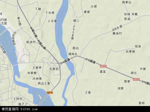 湖南乡地图 - 湖南乡卫星地图