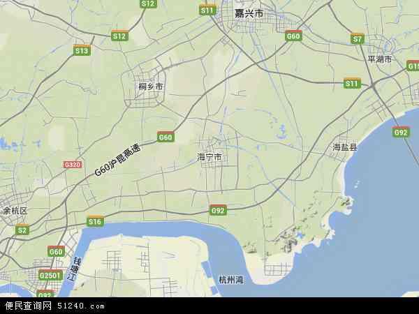 中國浙江省嘉興市海寧市地圖(衛星地圖)