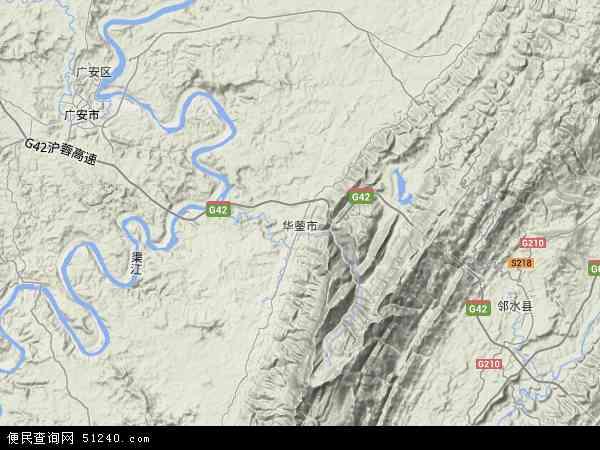 中国四川省广安市华蓥市地图(卫星地图)图片