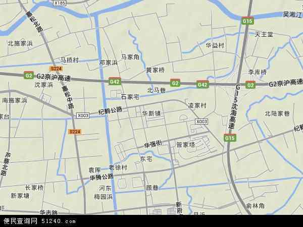 中国上海市青浦区华新镇地图(卫星地图)